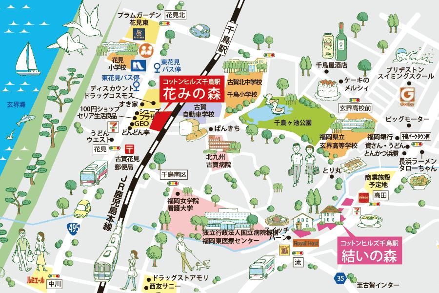 コットンヒルズ千鳥駅 周辺地図
